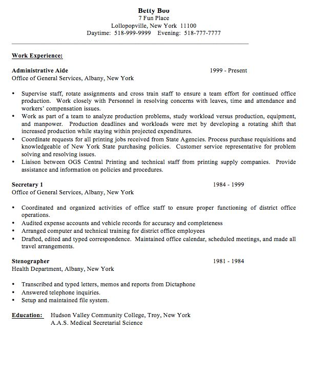 Secretary resume sample - RESUMEDOC