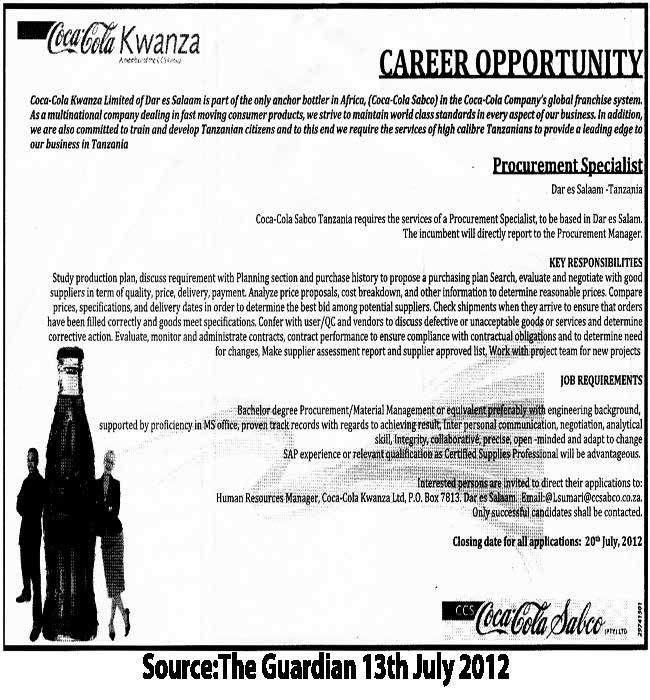 Procurement Specialist | TAYOA Employment Portal