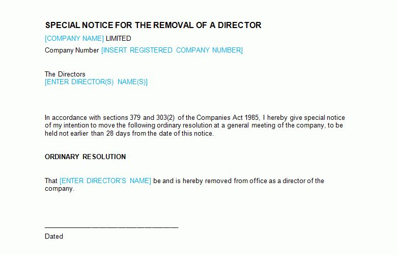 Board Meeting: Special Notice - Removal of Director Template - Bizorb