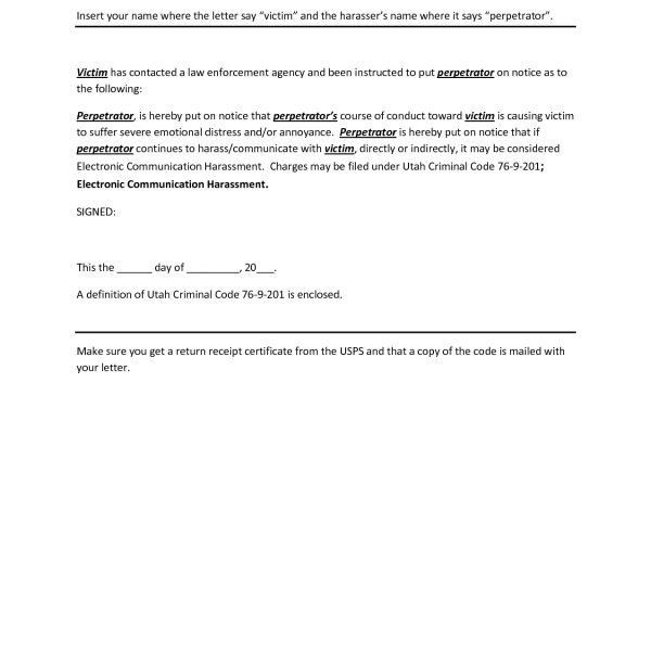 Cease And Desist Letter Template Harassment | Resume Template ...