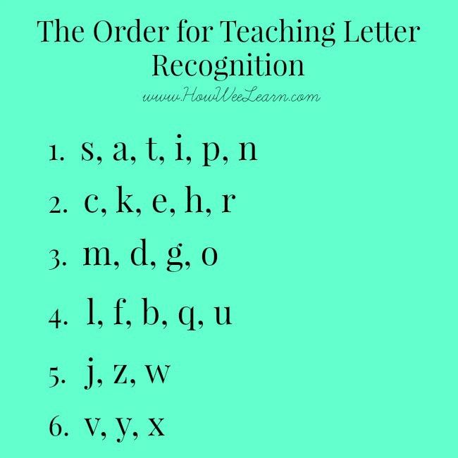 Teaching Letter Recognition - what order to introduce letters ...