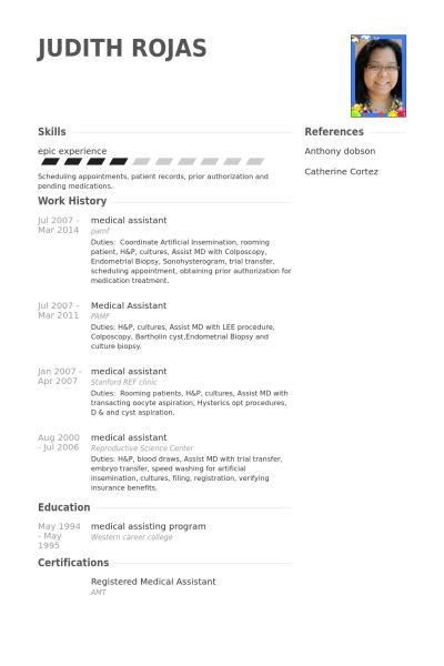 Medical Assistant Resume samples - VisualCV resume samples database
