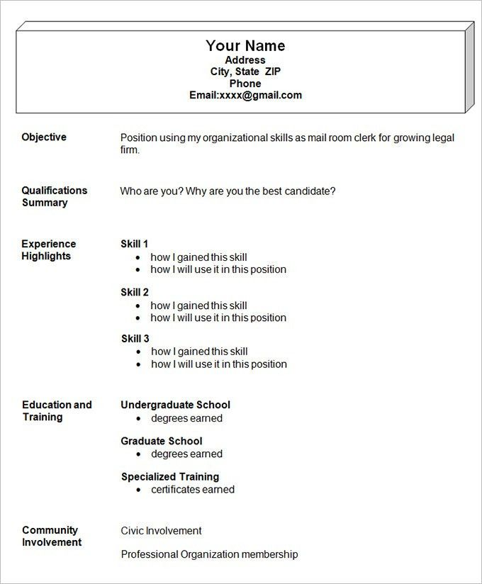 Examples Of A Combination Resume. Functional Resume Template Word ...