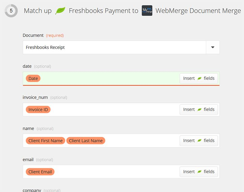 Create and Send a Custom Payment Receipt from Freshbooks | WebMerge