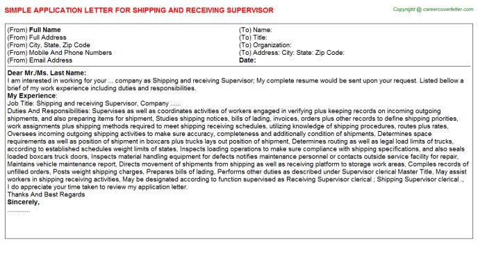 Shipping And Receiving Supervisor Job Title Docs
