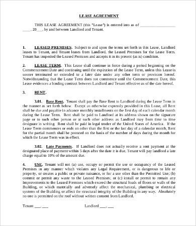 11+ Simple Commercial Lease Agreement Template for Landowner and ...