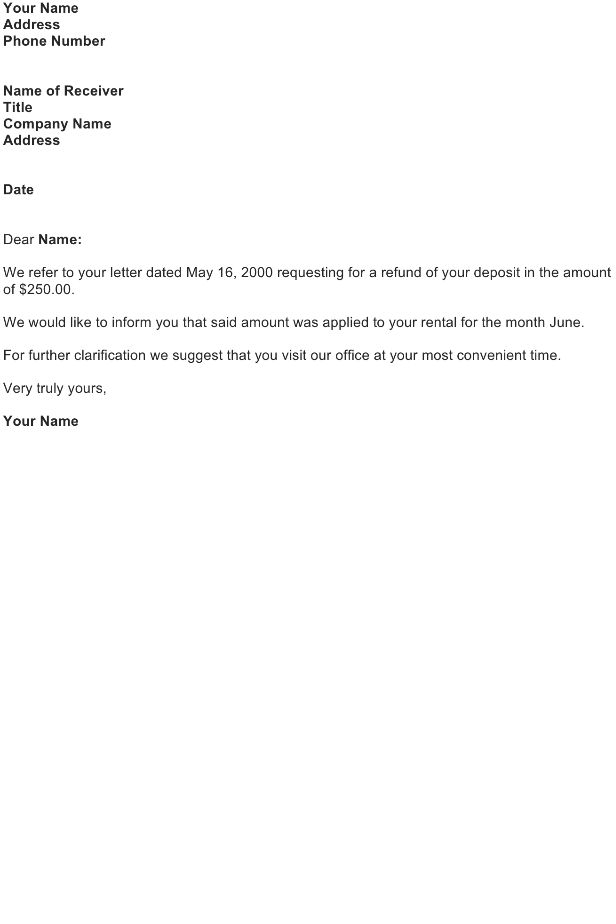 Refund Letter Sample - Download FREE Business Letter Templates and ...