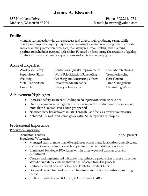 Production Supervisor Resume - Resume Example