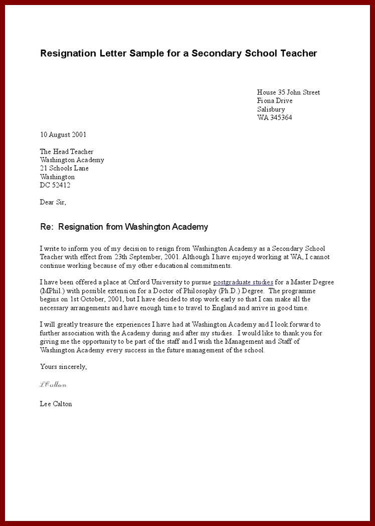 Resignation Letter : Sample Resignation Letter For A Teacher ...