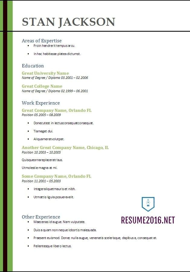 100+ [ Resume Template Word 2010 ] | Microsoft Word Resume ...