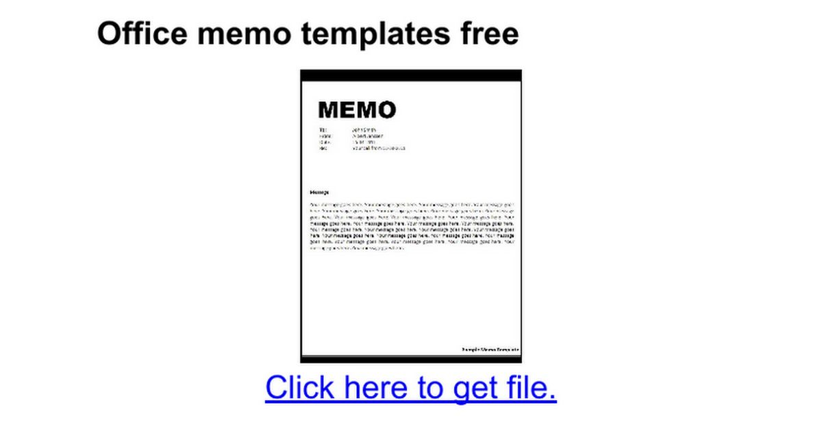 Office memo templates free - Google Docs