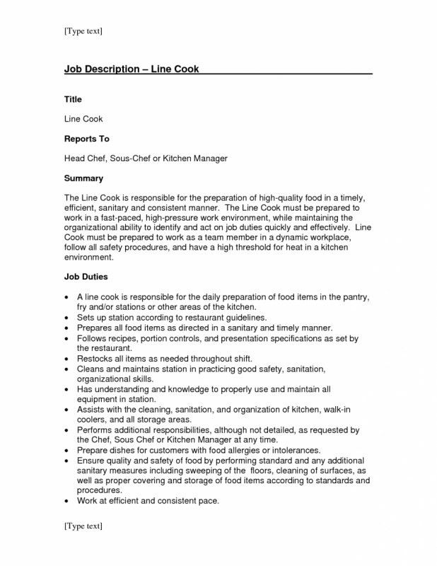 Line Cook Job Description For Resume | Samples Of Resumes
