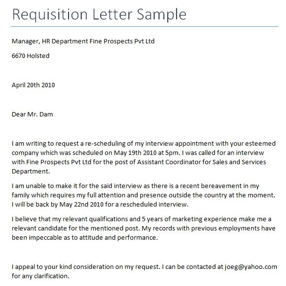 Requisition Letter Template - Writing Professional Letters