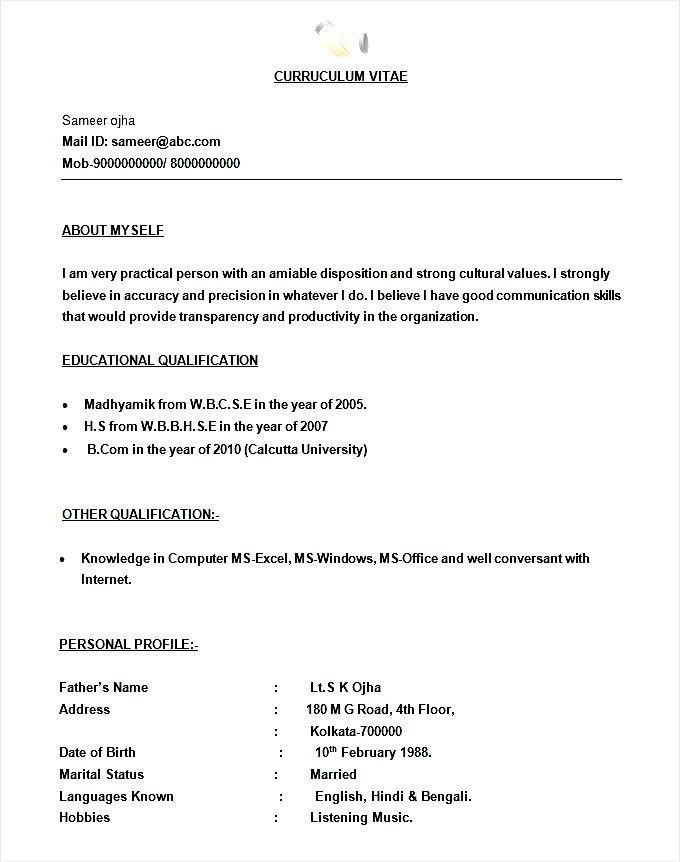 Simple BPO Call Centre Resume Template - Free Samples , Examples ...