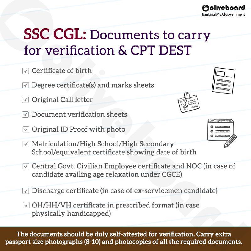 SSC CGL: Instructions for Document Verification & CPT/DEST ...