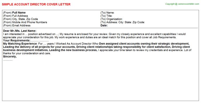 Account Director Cover Letter