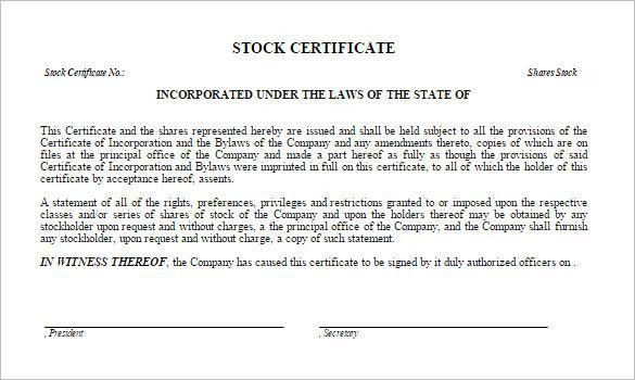 Share Stock Certificate Template | Download Free & Premium ...