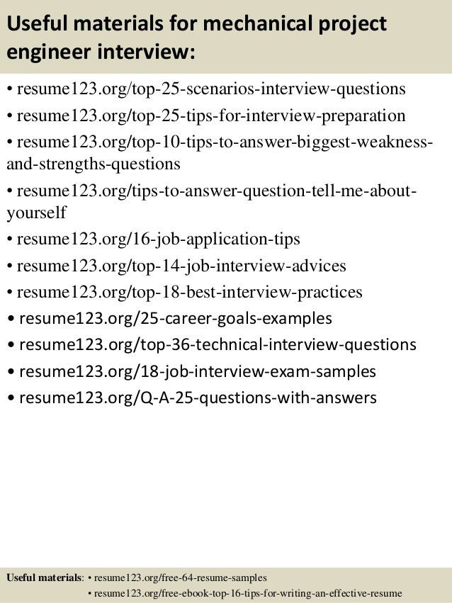 mechanical project engineer sample resume click here to download