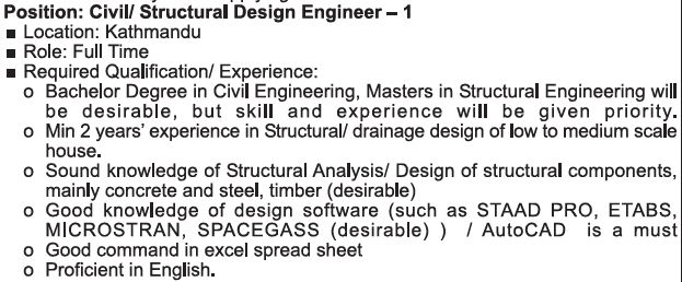 Fusion Engineering - Civil/Structural Engineer : Jobs in Nepal