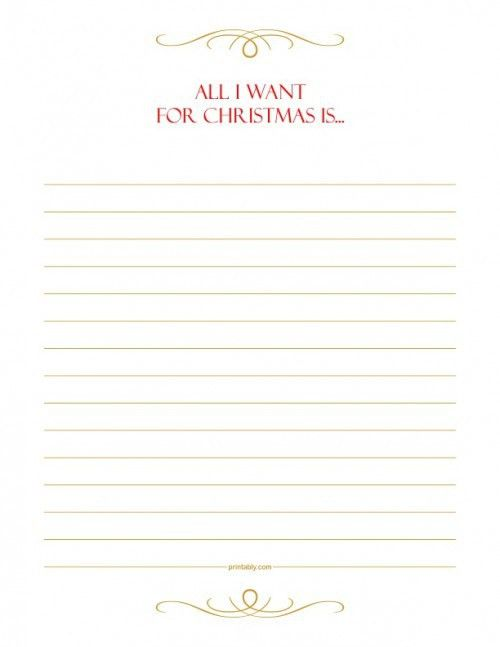 "Simple and Elegant ""All I Want for Christmas"" Full Page Wish List ..."