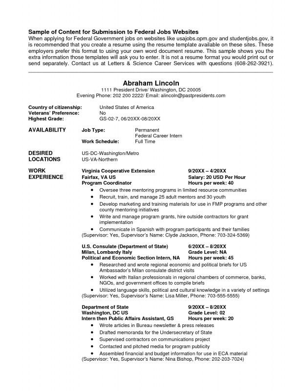 Federal Job Resume Template. Federal Jobs Resume Examples Template ...
