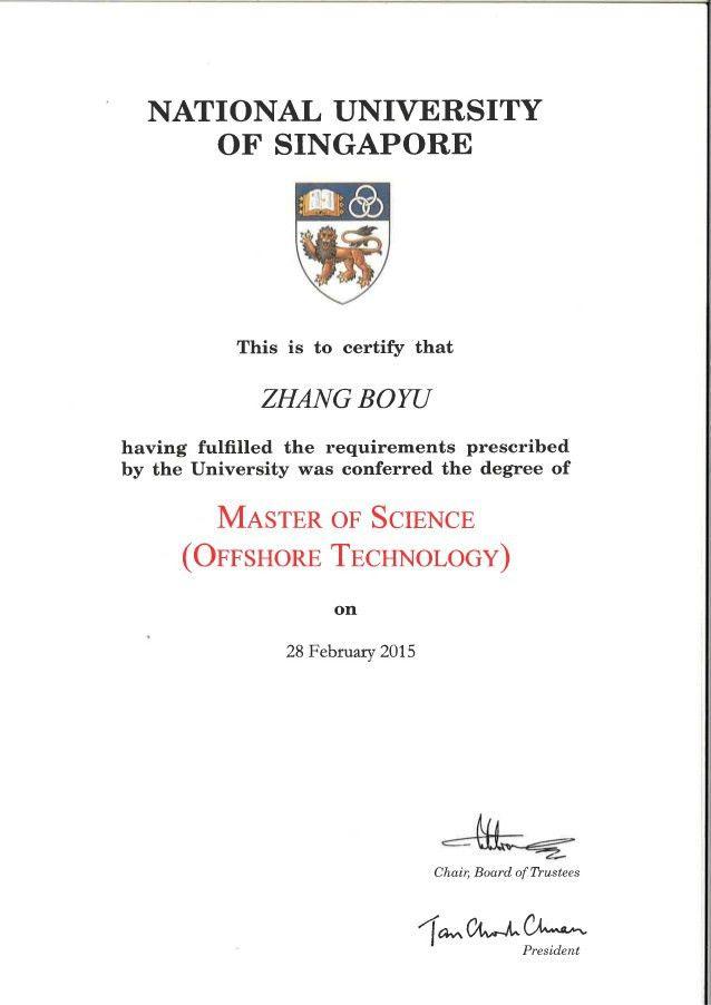 Certificate of Master Degree