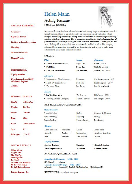Actor Resume Template Pdf. 10 acting resume templates free word ...