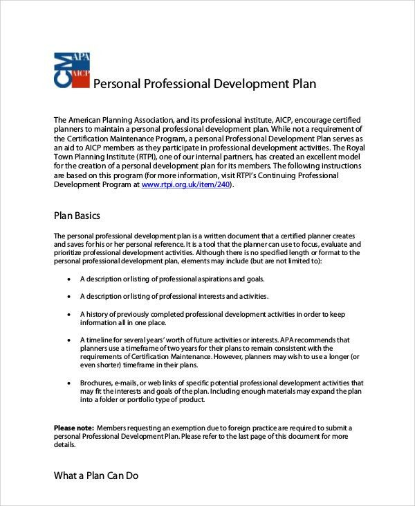 Professional Development Plan Sample - 7+ Examples in Word, PDF