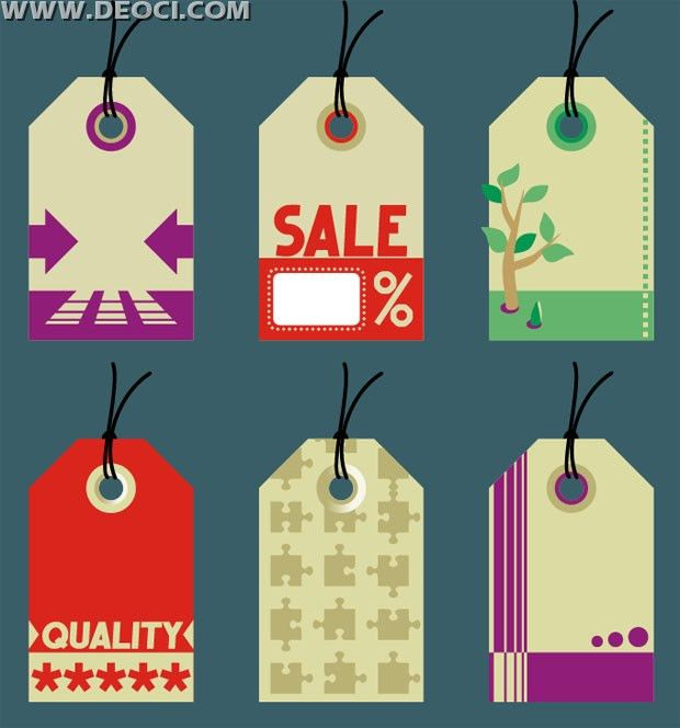 6 commodity sale hang tags design template vector material ...