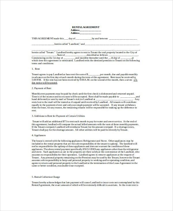 Sample Blank Lease Agreement - 7+ Examples in Word, PDF