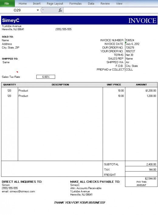 Creating Invoices on Excel | TurboFuture