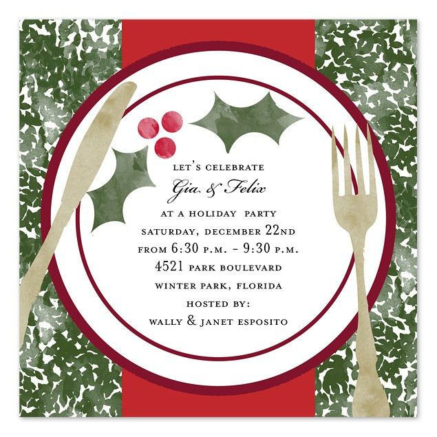 Christmas Dinner Invitation Template Free | Holiday Dinner ...