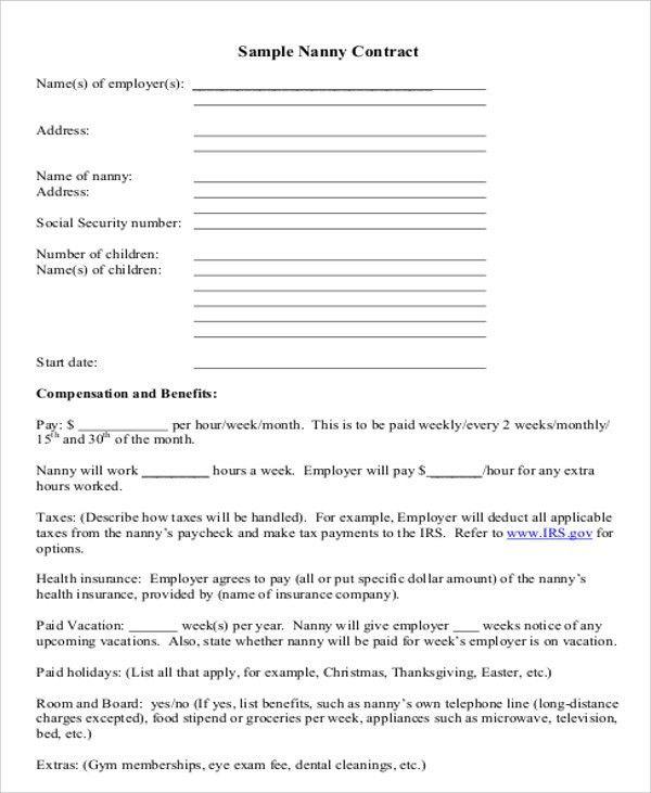 Nanny Agreement Contract. Independent Contractor Agreement Full ...