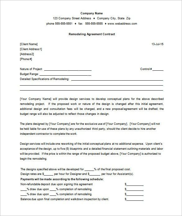 7+ Remodeling Contract Templates – Free Word, PDF Format Download ...