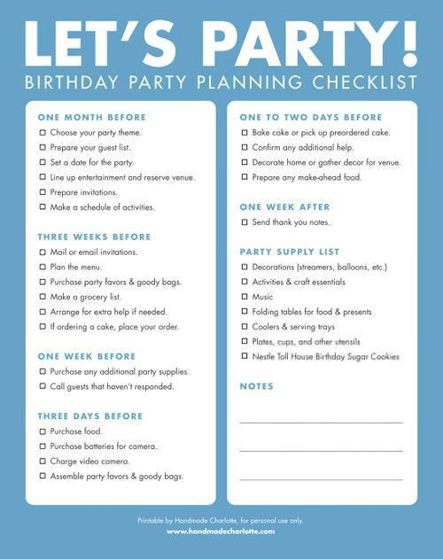 Birthday Party Checklist Template. Printable Baby Shower Planner ...