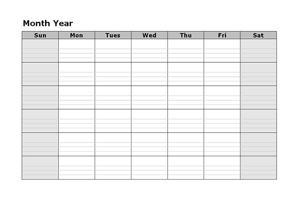 Monthly Blank Calendar in Blue Shade - Free Printable Templates