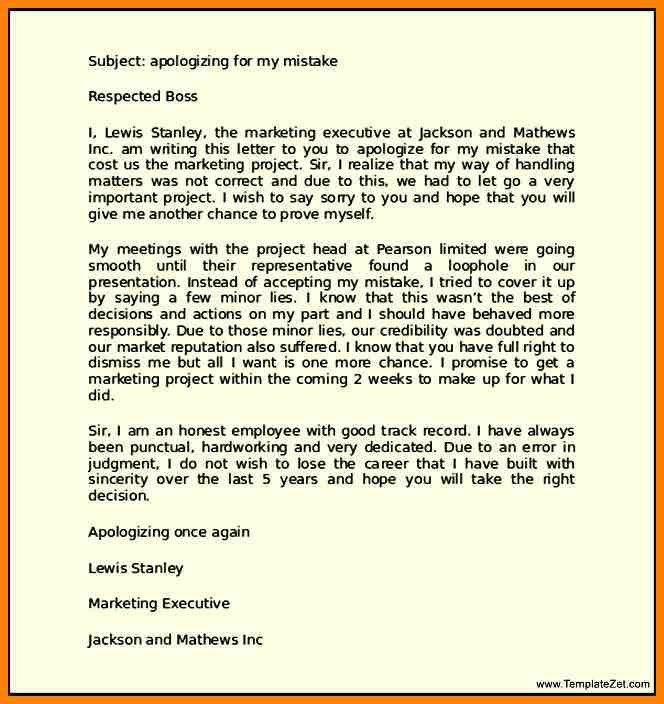 8+ apology letter sample to boss | resume language