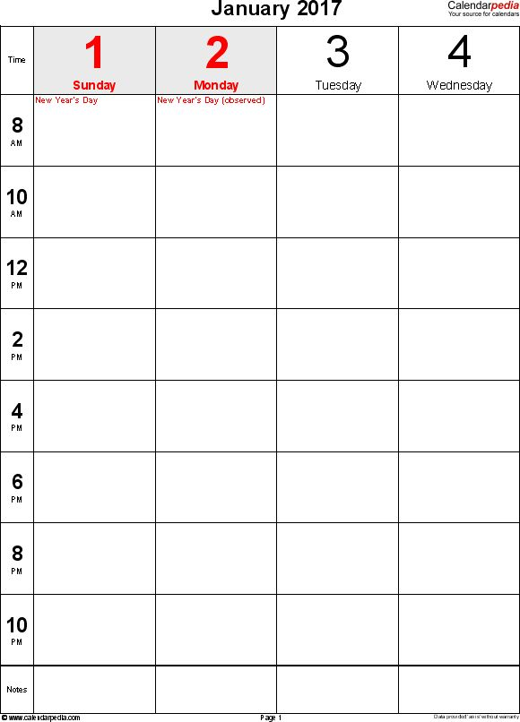 Weekly calendar 2017 for PDF - 12 free printable templates