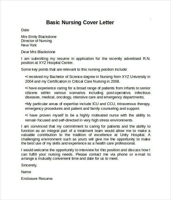Nursing Cover Letter Examples. Example Nurse Cover Letter - Free ...