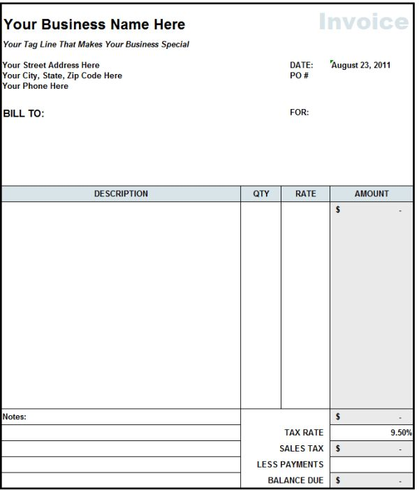Independent Contractor Invoice Template Excel | invoice sample ...