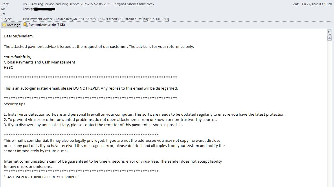Payment Advice – Spoofed HSBC email- fake PDF malware | My Online ...