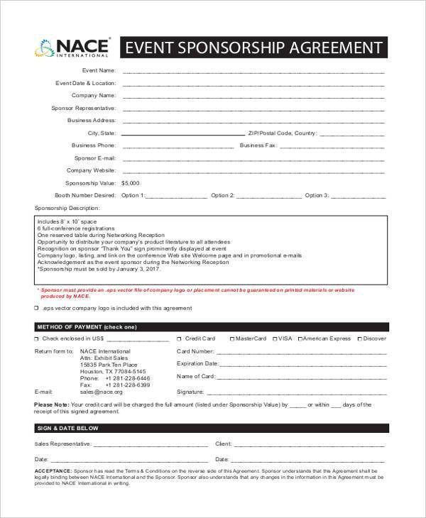 7+ Sponsorship Agreement Form Samples - Free Sample, Example ...