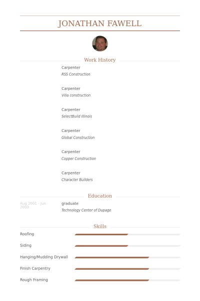 Carpenter Resume samples - VisualCV resume samples database