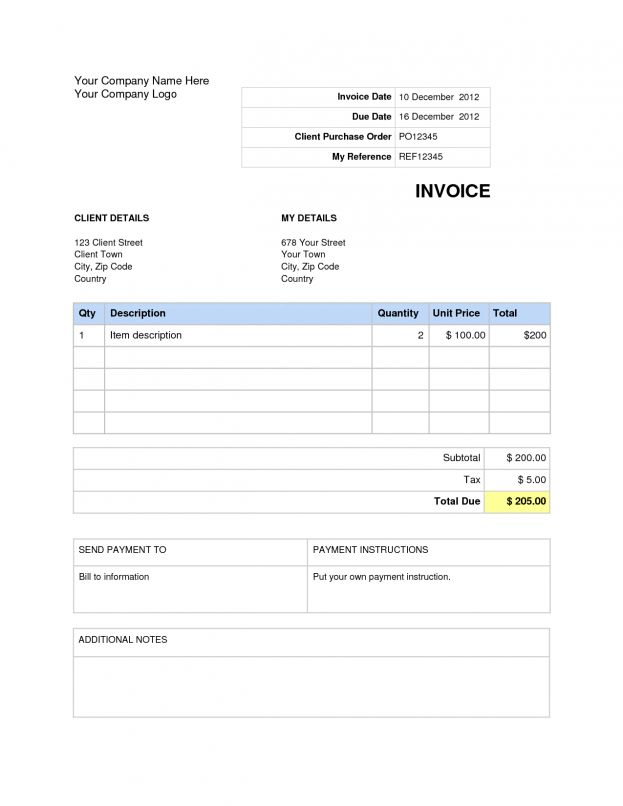 Invoice Templates: Blank Invoices To Print. Bill Statement ...
