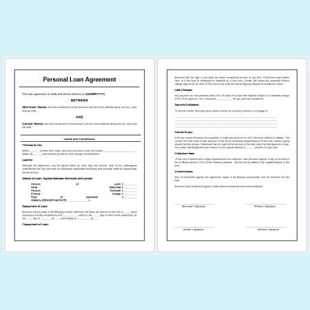 Personal Loan Agreement Forms and Templates - Download Free at ...