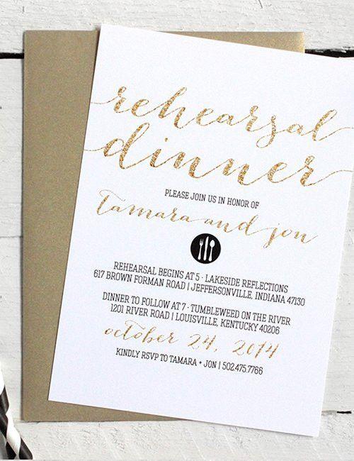 Black, White, and Gold Rehearsal Dinner Invitations • Printable Fil...