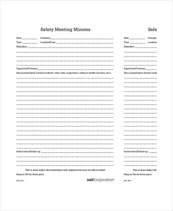 Safety Meeting Minutes Template - 9+ Free Sample, Example, Format ...