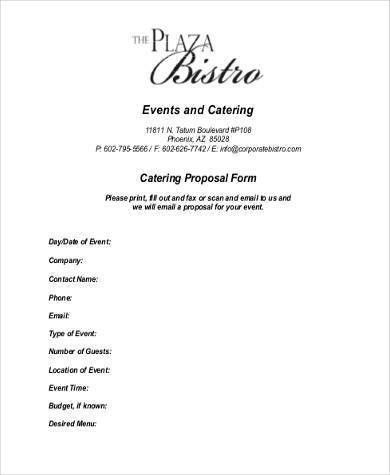 Sample Catering Proposal Forms - 8+ Free Documents in Word, PDF