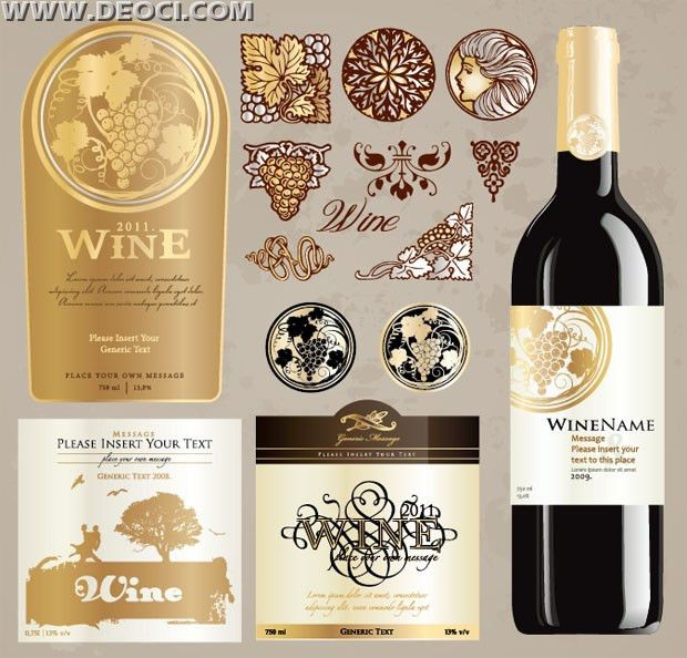 Vintage wine label collection bottle packaging design ...