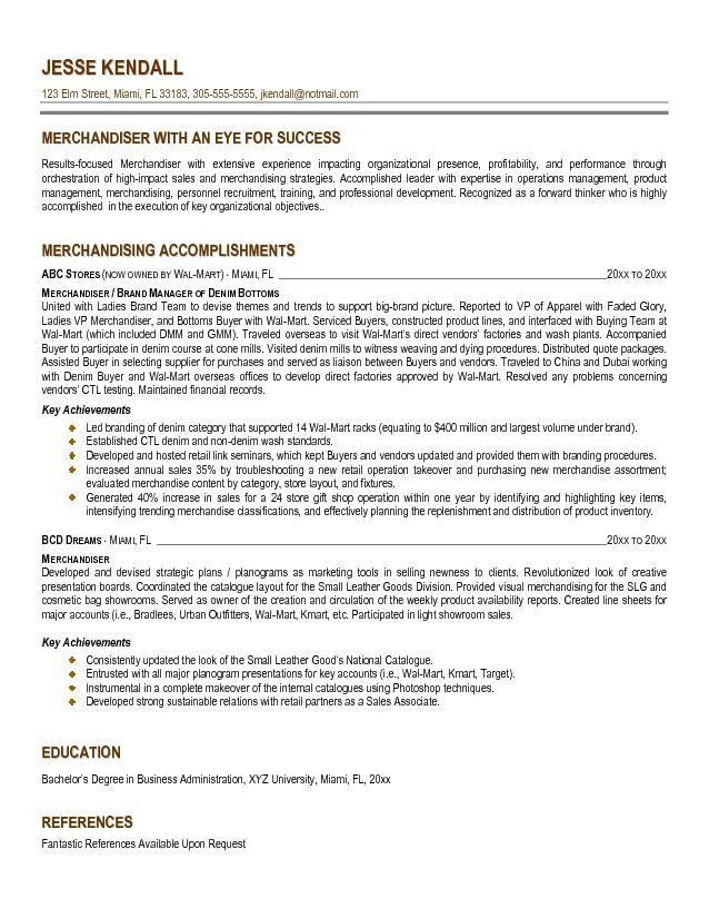 Free Merchandiser Resume Example